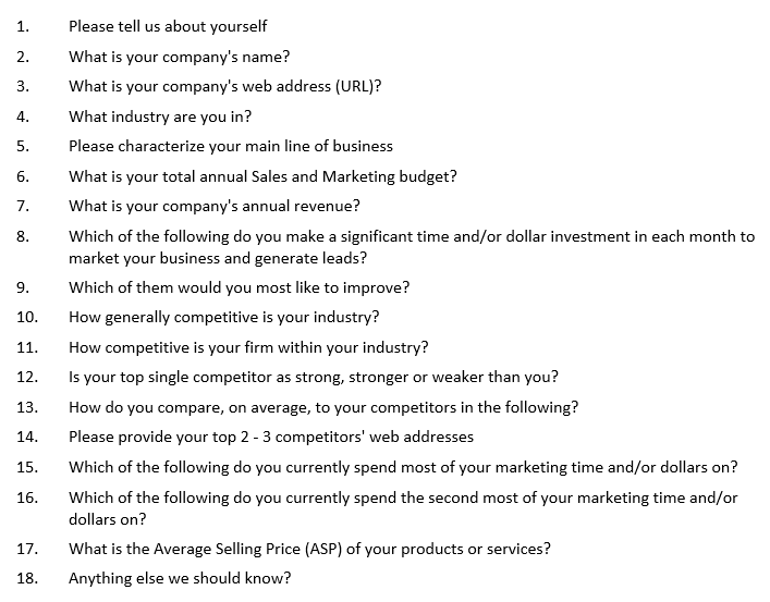 questionnaire to create a marketing budget