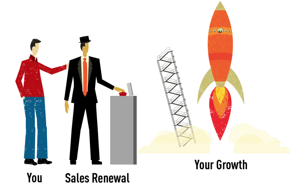 Sales Renewal launches a rocket representing your sales growth
